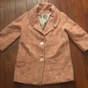 pink 3/4 length lined peacoat jacket EXPENSIVE